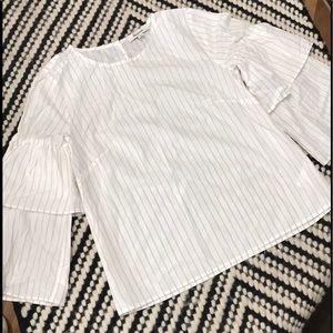 Madewell Striped sRuffle Shirt Size XS🌼🦋🌼